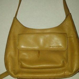 """Tan leather """"Fossil"""" shoulder bag!"""